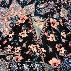 Floral Surplice Crop Top
